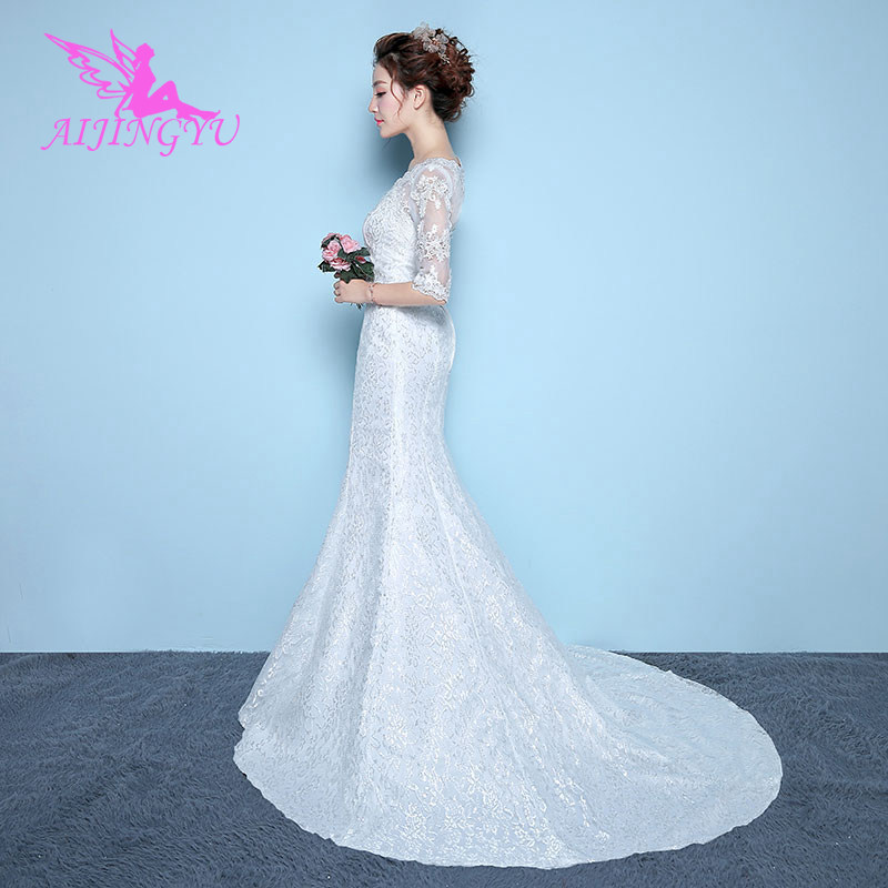 AIJINGYU 2018 white free shipping new hot selling cheap ball gown lace up back formal bride