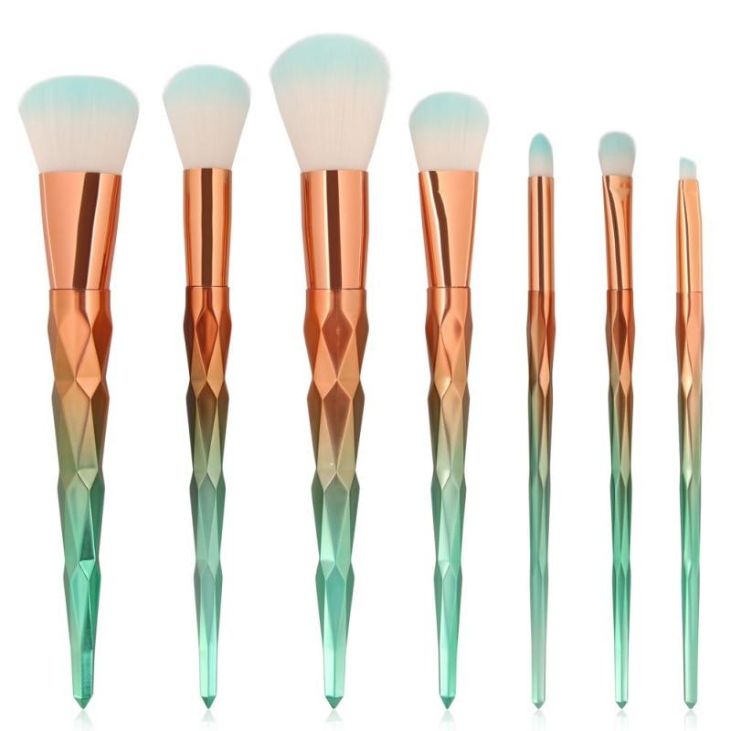 7pcs Pro Diamond Shape Makeup Brush Set Foundation Powder Blusher Eyeshadow Eyeliner Eyebrow Lip Brush Cosmetic tool Kits