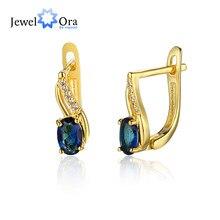 Pendientes de aro de piedra azul con diamantes de imitación, Color dorado, pendientes de joyería de fiesta para mujer, regalo para ella (Jewelora EA103139)