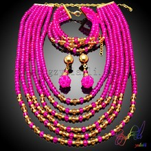 Nigeria wedding beads jewelry sets red coral beads african beads jewelry set for wedding(China)