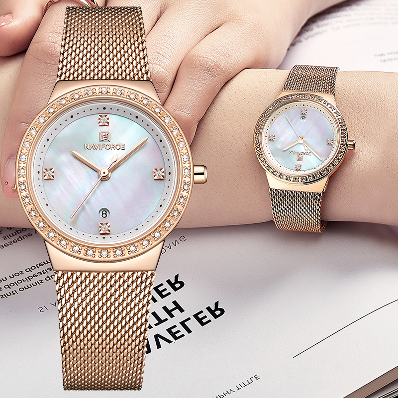 NAVIFORCE Brand Luxury Watch Women Fashion Dress Quartz Wrist Watch Ladies Stainless Steel Waterproof Watches Relogio Feminino