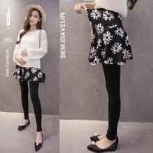 Korean version of pregnant women pants skirt autumn tan mother feet wear long pants new leggings pleated umbrella skirt