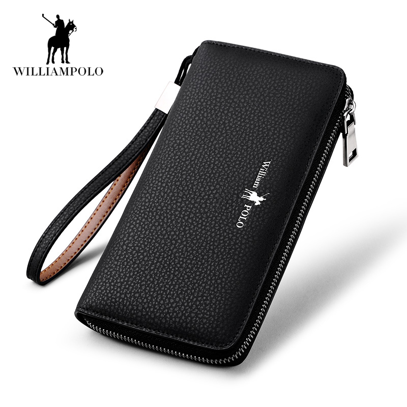 2018 NEW Mens Long Wallet 100% Genuine Leather Male Clutch Purse Wallet Luxury Brand Business Zipper Black Men Hand Bag POLO130 new oil wax leather men s wallet long retro business cowhide wallet zipper hand bag 2016 high quality purse clutch bag page 8