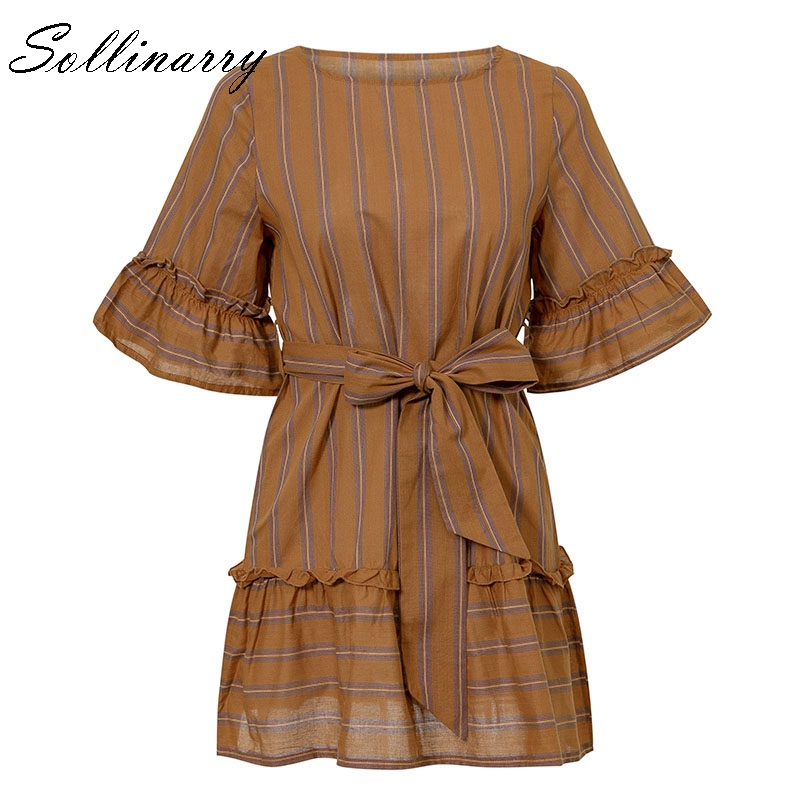 Sollinarry Brown O Neck Ruffles Women Dresses Casual Short Sleeve Party Dresses Bow Evening Beach Vintage Lady Dress Vestidos