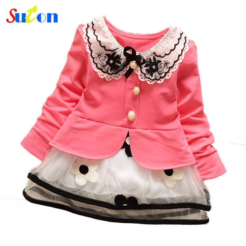 2017 Spring and summer new baby girls t-shirt dress fake two sweet and cute style pink/yellow color cotton kids clothes dress