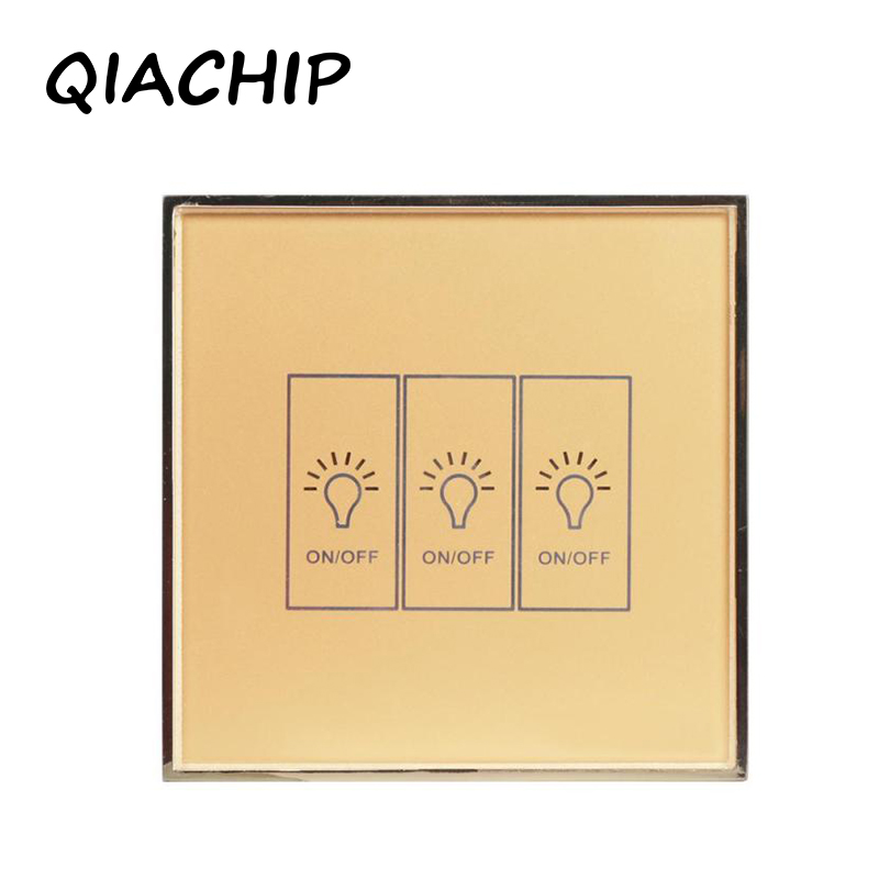 QIACHIP Remote Control Switch 3 Gang 1 Way SY2-02 Smart Wall Touch Switch+LED Indicator Crystal Glass Switch Panel with Amazon qiachip remote control switch 2 gang 1 way uk eu smart wall touch switch led indicator crystal glass switch panel smart home