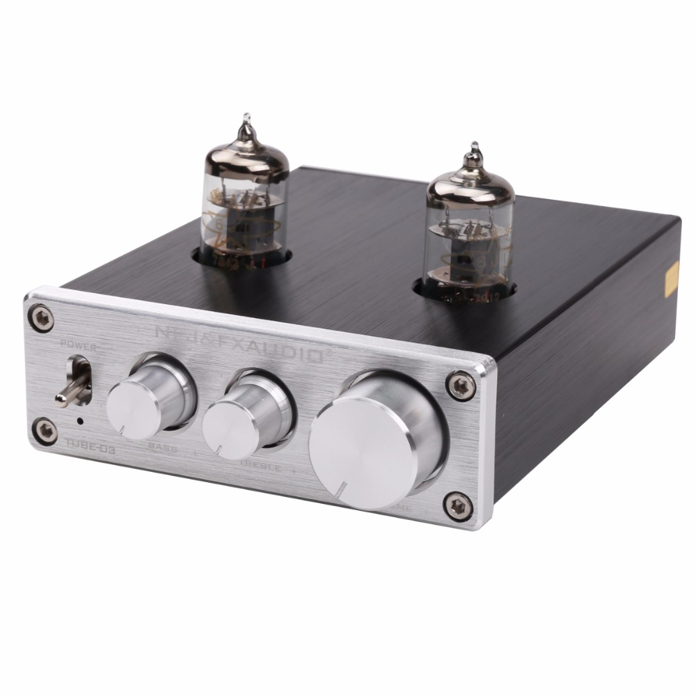 цена 2017 FX-AUDIO TUBE-03 MINI Bile 6J1 Preamp Tube Amplifier Buffer HIFI Audio Preamplifier Treble Bass Adjustment Pre-amps DC12V
