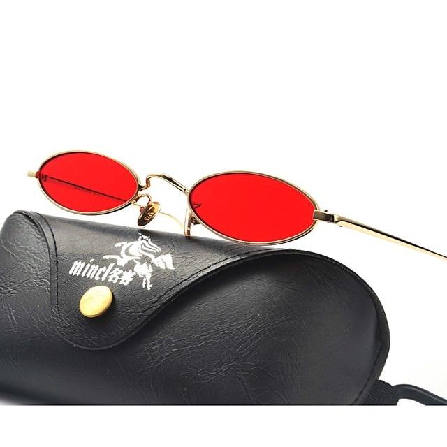 MINCL rétro ovale lunettes de soleil femmes petite taille 2018 rouge ronde  lunettes de soleil 11ee5e2f68b9