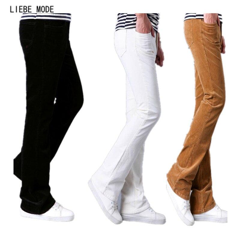 Printemps Automne Hommes Pantalon Évasé Côtelé Coupe Pantalon Cloche Bas Pantalon Hommes Pantalon Homme Noir Blanc Rouge Kaki Pourpre