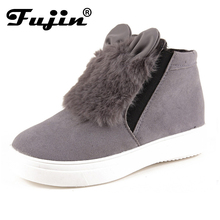 2017 spring slipony Woman Platform With Fur Ears women winter shoes Boots plush slip on For Student Snow Shoes Female Warm Bota