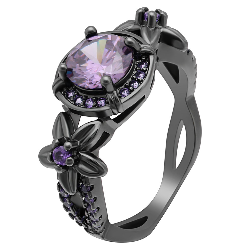 New Ladies Black Ring Luxury Purple AAAAA Cubic Zirconia Claw Bead Flower Ring For Women Bands Engagement Ring Dropshipping