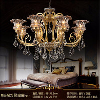 Chandeliers Copper Royal style luxury classical K9 Crystal glass 90 230V Bulb living room lamp Chandeliers lamp