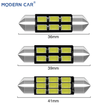 MODERN CAR 36/39/41mm 5730 LED Festoon Lamp 6/9 SMD 6000K 12V Reading Dome Lights Interior Light 6000K White Rear Reverse Lamps carking 6w 750lm 6000k 45 smd 5050 led white car dome lights kit for 12 new fit new city