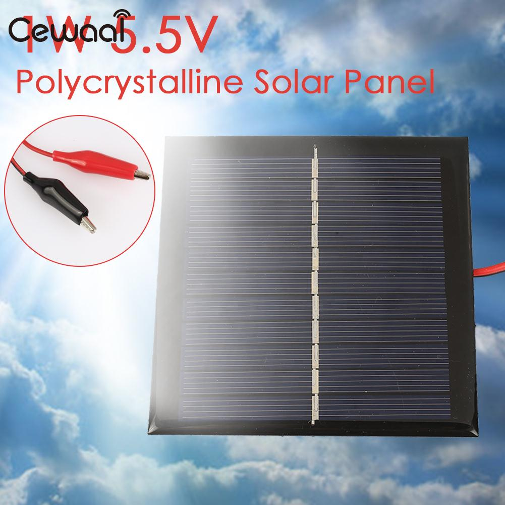 Solar Panel 1W 5.5V Portable Toy Battery Solar Charger Pane Polysilicon Solar Light Solar Generator DC Output