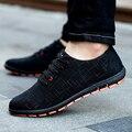 Новая Коллекция Весна/Лето Мужская Обувь Плюс Размер Повседневная Обувь Мужчины Холст Обувь Дышащая Низкая шнурки Квартиры Zapatillas Hombre 45,46, 47