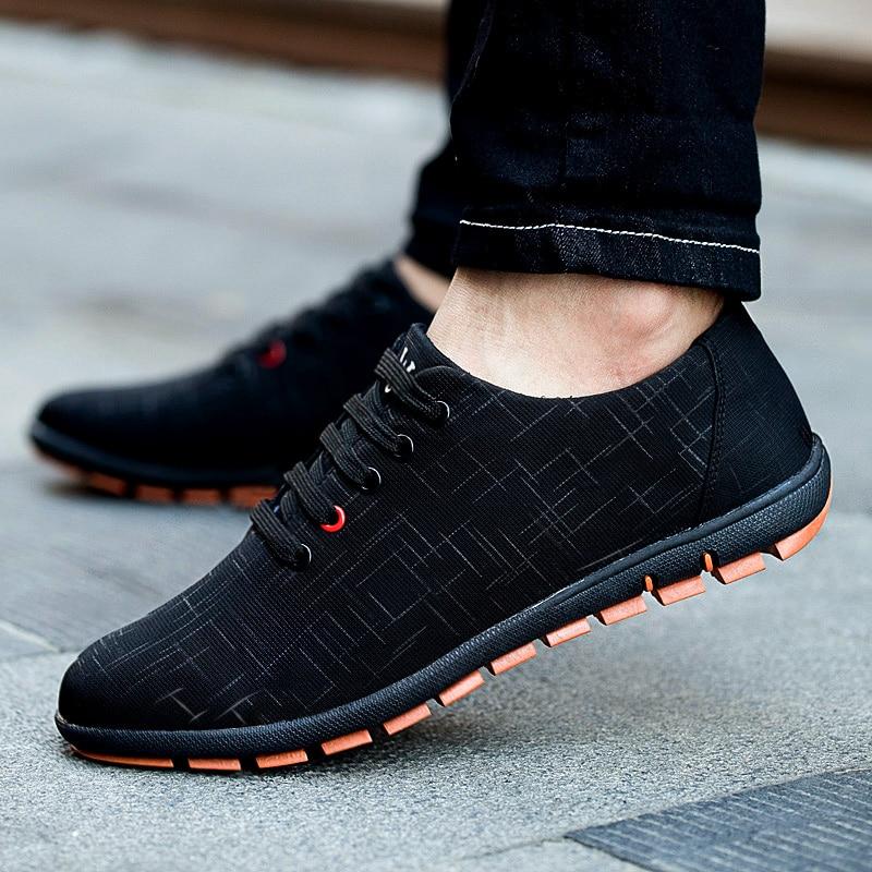 Autumn/Winter Men Shoes Plus Size 39-47 Men's Casual Shoes Breathable Lace-Up Canvas Flat Shoes For Male Zapatillas Hombre