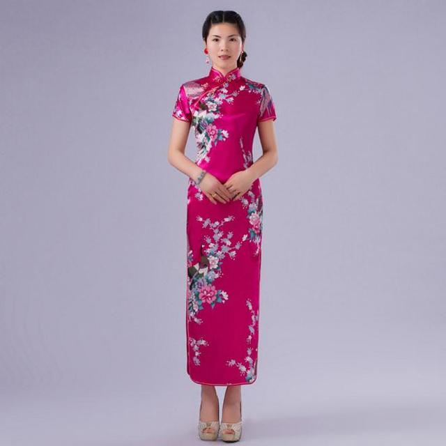 Hot Pink Printed Peacock&Flower Women Qipao Chinese Lady Long Cheongsam New Silk Rayon Wedding Dress Size S M L XL XXL WC051