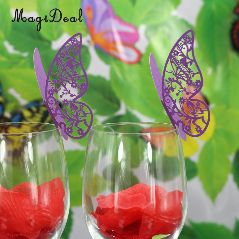 MagiDeal New Hot Sale 50Pcs/Lot Butterfly Name Place Card Wedding Dinner Table Cup Decor for Birthday Baby Shower Party Supplies