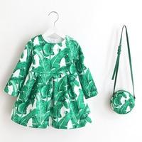 Retail Lovely Little Kids Causal Long Sleeves Dress With Bag Elegant Western European Design Girls Party