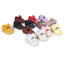 Baby Cute Colorful Newborn Toddler Girl First Walker Shoes Bowknot Decoration Heart Hollow Out Shape Soft Sole Prewalker