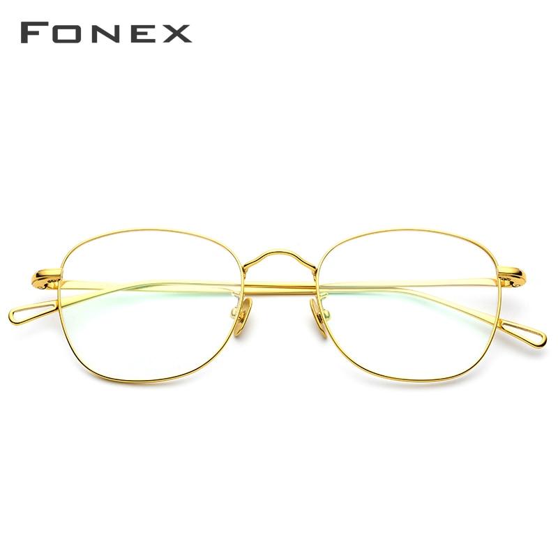 FONEX B titane lunettes cadre hommes rétro carré Prescription lunettes cadres femmes ovale lunettes myopie optique-lunetterie 887