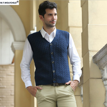 Free shipping 2017 men's new spring style V-neck Cardigan sleeveless sweaters casual 100% cotton clothing slim mens sweaters