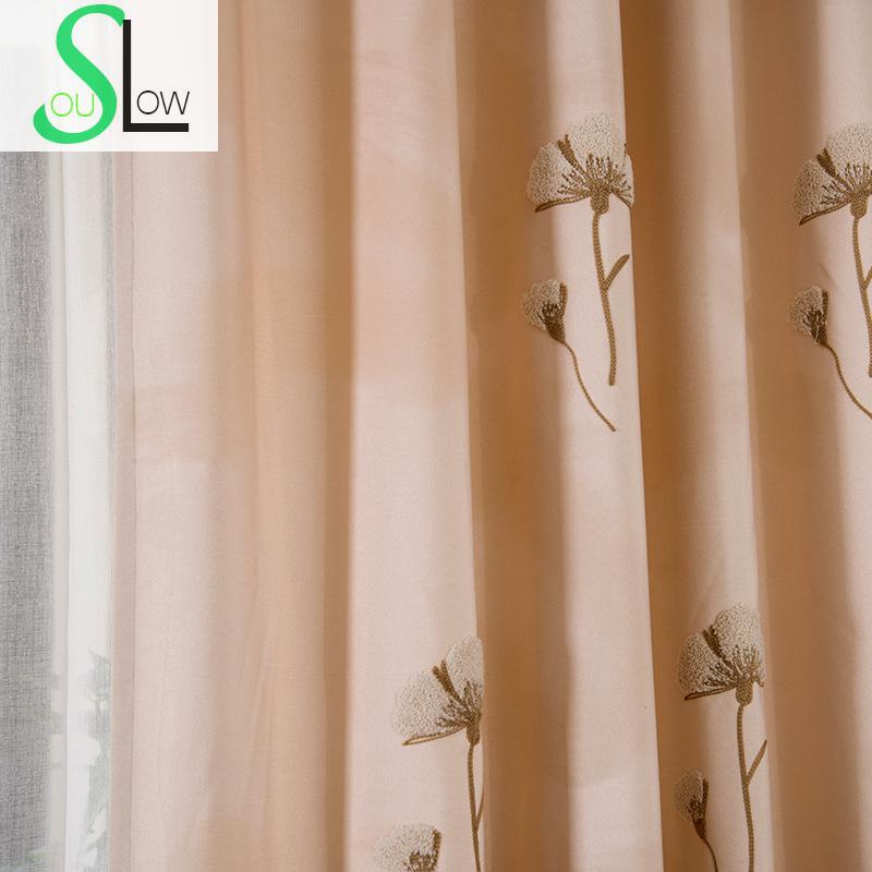 Slow Soul Blue Light Brown Curtains American Village Living Room Bedroom Embroidered Floral Tulle Curtain For Cortinas Kitchen In From Home