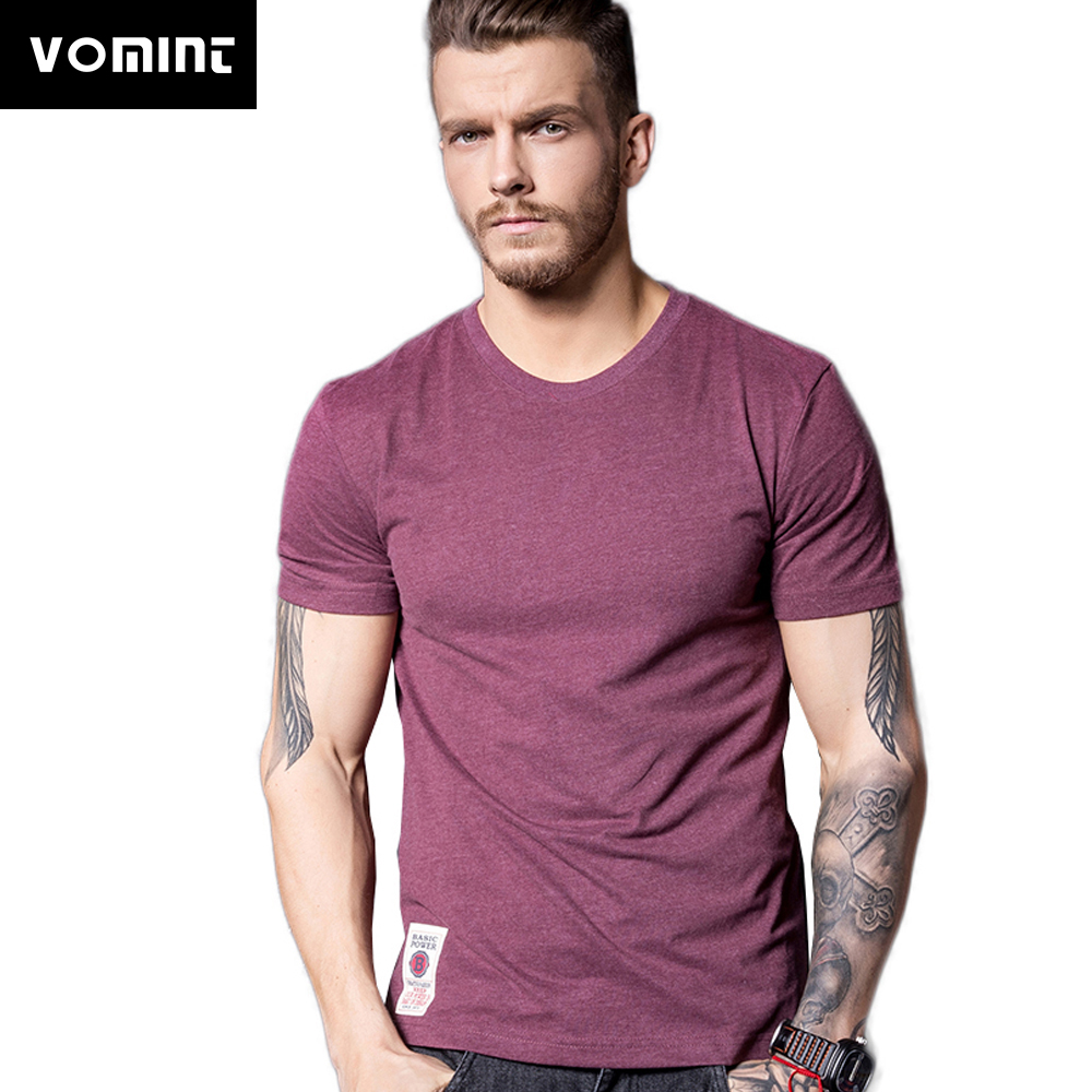 VOMINT New Solid T-Shirt Mens Short Sleeve T-shirt Cotton Multi Pure Color Fancy Yarns Washing Tee Shirt For Male V7S1T001