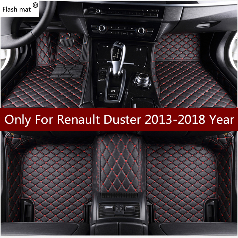 Flash mat leather car floor mats for Renault Duster 2013 2014 2015 2016 2017 2018 Custom auto foot Pads automobile carpet cover