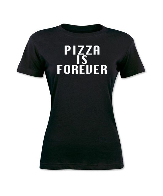 1d2cdf7f1023 € 11.72 13% de DESCUENTO|Pizza Is Forever Love Food Tumblr divertida  camiseta negra para mujer Camiseta de manga corta divertida marca femenina  ...