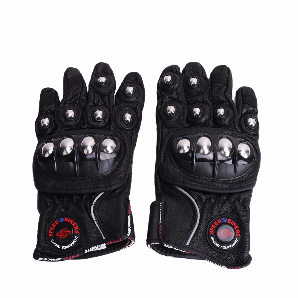Motorcycle gloves xl - Retro Pu Leather Riding Gloves Stainless Steel Motorcycle Gloves Warm Waterproof Windproof Use Motorbike Gloves M L
