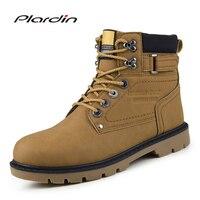Plardin Novo Inverno Alta botas de Plataforma de Moda do exército Costura Patente Botas de couro Esculpido Oxford Lace-Up Homens Hook & Sapatos de laço