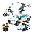 Kits de edificio modelo de helicóptero de la policía de la motocicleta del coche de policía de la ciudad policías y ladrones ladrón diy bloques de juguetes regalos