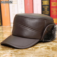 SILOQIN New Winter Mens Warm Earmuffs Genuine Leather Hat Military Hats Flat Caps For Men Dads Cowhide With Ears