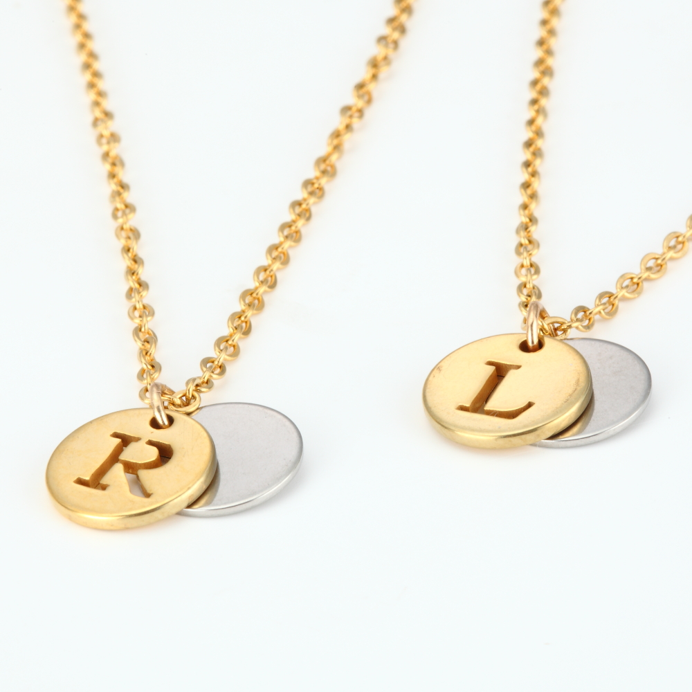 26 Letter Personalized Name Jewelry Gold Engrave Letter 2 Discs Choker Custom Initial Necklace Pendant for Trendy Woman