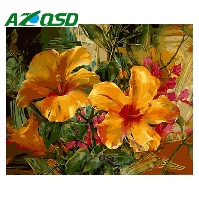 AZQSD Painting By Numbers Frameless 40x50cm Big Orange Flowers Oil Painting Picture By Numbers On Canvas Home Decor Szyh180