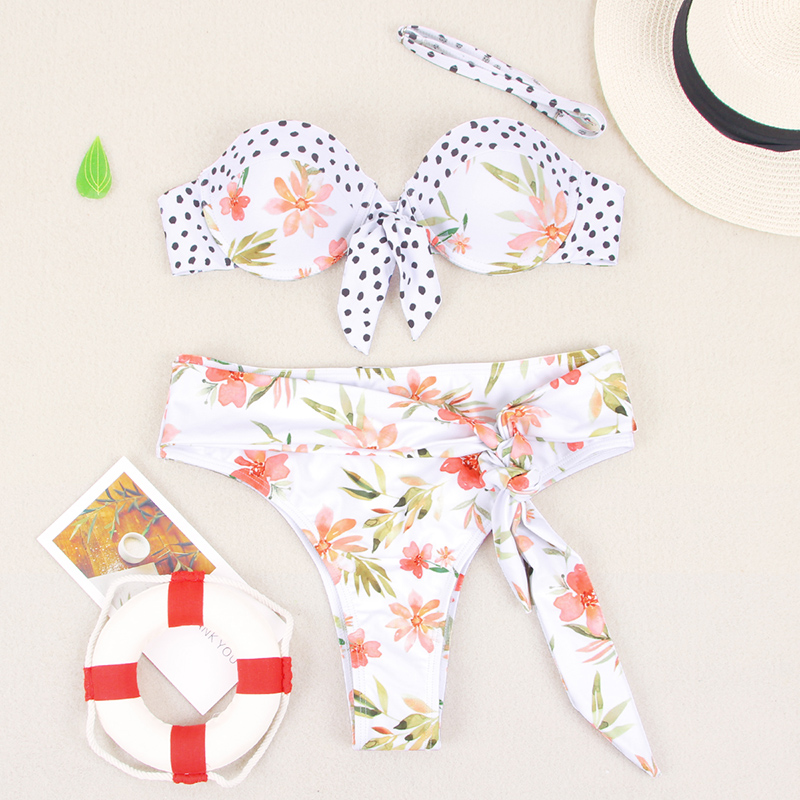 HTB1jwhnblKw3KVjSZFOq6yrDVXa4 Miyouj Ruffle Bikini Off Shoulder Floral Swimsuit Bandage Bow Swimwear Push Up Biquini Feminino Bathing Suit Women Bikini Set