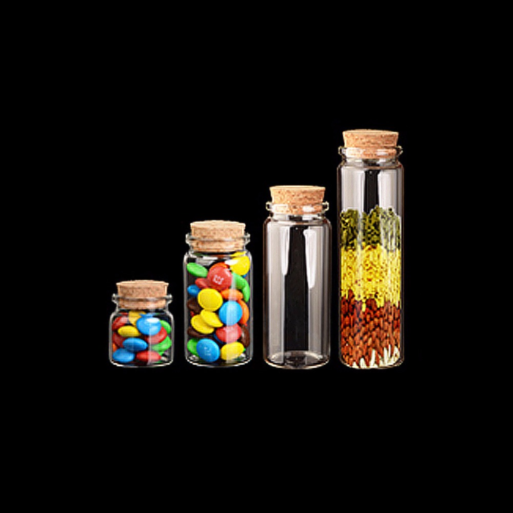 Capacity 50ml 80ml 100ml 150ml Glass Bottles with Cork Clear Bottles Jars Weding Gift Empty Jars