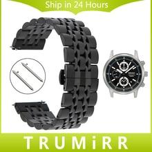 20mm 22mm Quick Release Stainless Steel Watch Band + Tool for Seiko Men Women Butterfly Buckle Strap Wrist Belt Link Bracelet