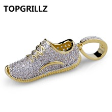 TOPGRILLZ Hip Hop Men Women Jewelry Shoes Necklace Copper Iced Out Micro Paved CZ Stone Gold Color Plated Pendant Necklaces