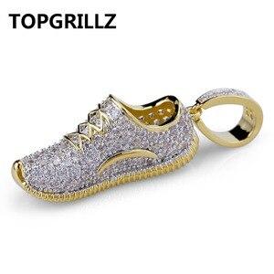 Image 1 - Ожерелье с подвеской TOPGRILLZ в стиле хип хоп, для мужчин и женщин, ожерелье с обувью, медным покрытием, микро покрытием, с фианитами, золотого цвета
