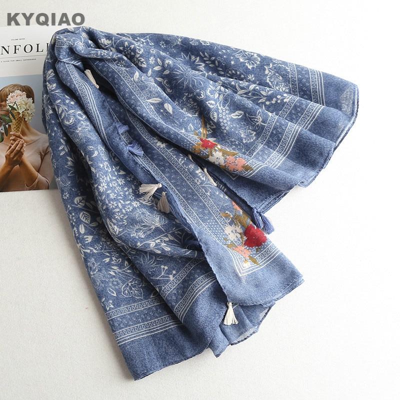 KYQIAO Women scarf hijab 2018 female autumn winter Chinese style classic elegant vintage long blue print scarves