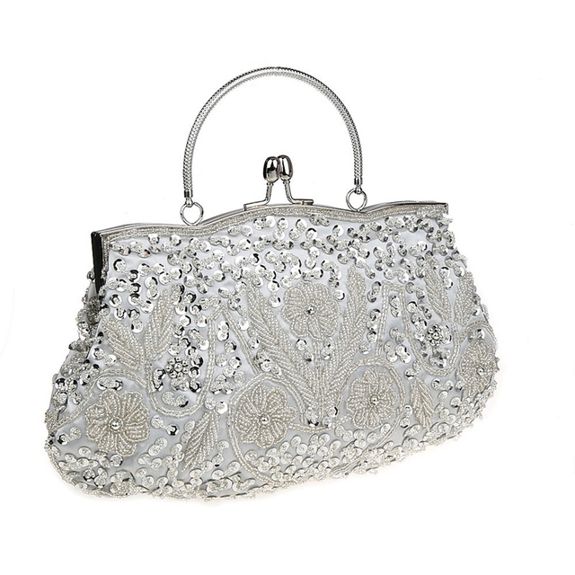 2017 Glitter Women Sequined Clutch Silver Evening Bags With Chains Handbag Wedding Dress Bag Party Purse