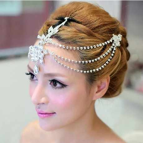 Silver Plated Crystal Indian Hair Accessories