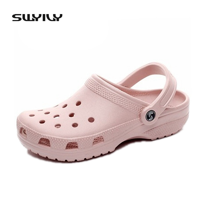 ЕВА Женщина Сандалии на плоской подошве Летняя обувь Hole Классические легкие сабо Широкие удобные пляжные туфли большого размера 42 43 44 45 46
