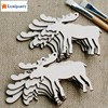 LumiParty 10 Pcs Wooden Crafts Laser Engraving Christmas Elk Wood Chip Home Christmas Tree Decoration Pendant