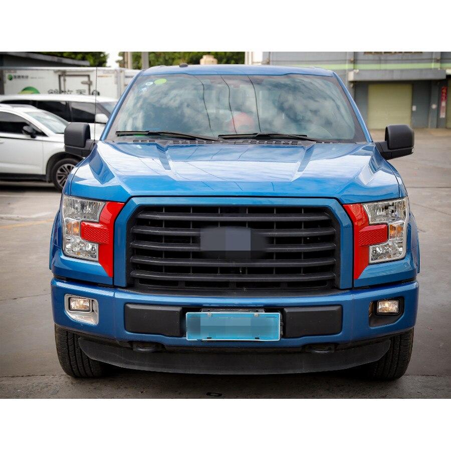 YAQUICKA 2 unids/set lámpara de luz delantera del coche parrilla frontal ajuste de la cara del bisel de estilo etiqueta de la cubierta para Ford F150 2015 + Accesorios de coche - 5