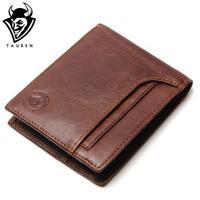 TAUREN RFID BLOCKING New Stylish Men Wallet Genuine Cow Leather Male Bifold Purse With Card Pocket