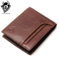 TAUREN RFID BLOCKING New Stylish Men Wallet Genuine Cow Leather Male Bifold Purse With Card Pocket