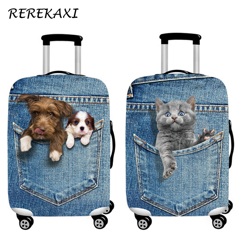 Cowboy Suitcase Case Cover 3D Cat Dog Luggage Elastic Protective Covers 18-32Inch Trolley Baggage Dust Cover Travel Accessories